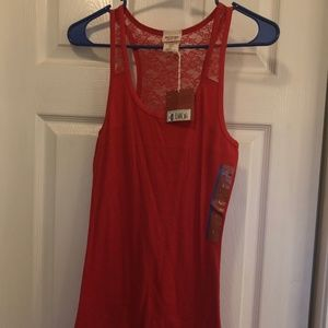 NWT Mossimo long red tank top with lace
